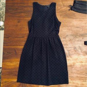 J. Crew mini dress with black velvet dot print, XS